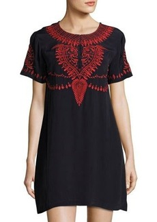 Neiman Marcus Embroidered Short-Sleeve Dress