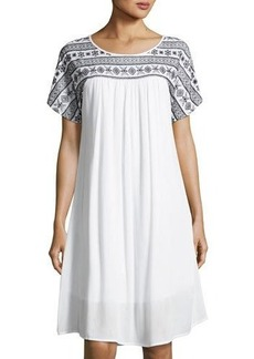 Neiman Marcus Embroidered Short-Sleeve Swing Dress