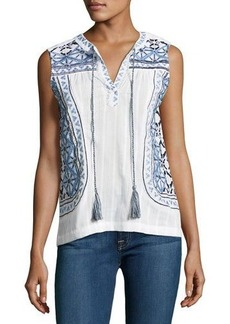 Neiman Marcus Embroidered Tassel Blouse
