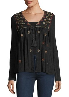 Neiman Marcus Embroidered Tie-Front Jacket