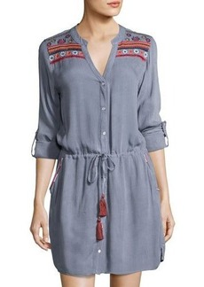 Neiman Marcus Embroidered-Trim Woven Shirtdress
