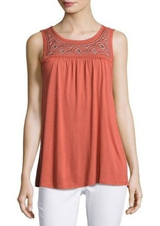 Neiman Marcus Embroidered-Yoke Jersey Tank