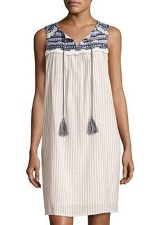 Neiman Marcus Embroidered-Yoke Shift Dress