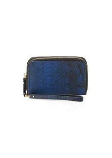 Neiman Marcus Exotic Double-Zip Faux-Leather Wristlet