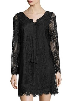 Neiman Marcus Eyelash Lace Long-Sleeve Slip Dress
