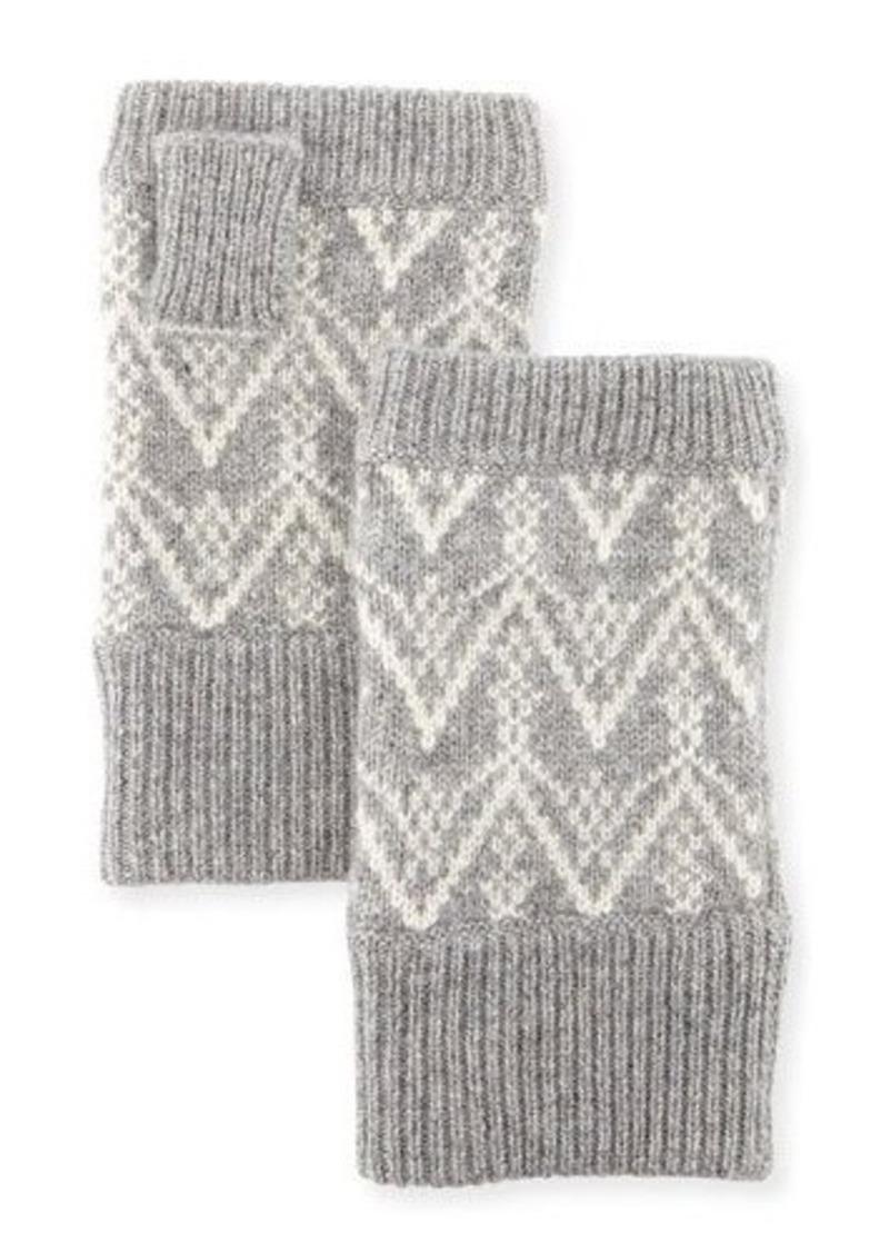 Neiman Marcus Fair Isle Cashmere Fingerless Gloves