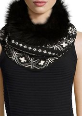 Neiman Marcus Fair Isle Cashmere Snood w/Fur Trim