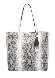 Neiman Marcus Fairmont Glossy Snake-Print Tote Bag