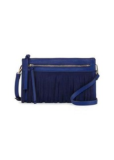 Neiman Marcus Faux-Leather Crossbody Bag with Suede Fringe
