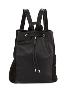 Neiman Marcus Faux-Leather Drawstring Bucket Backpack