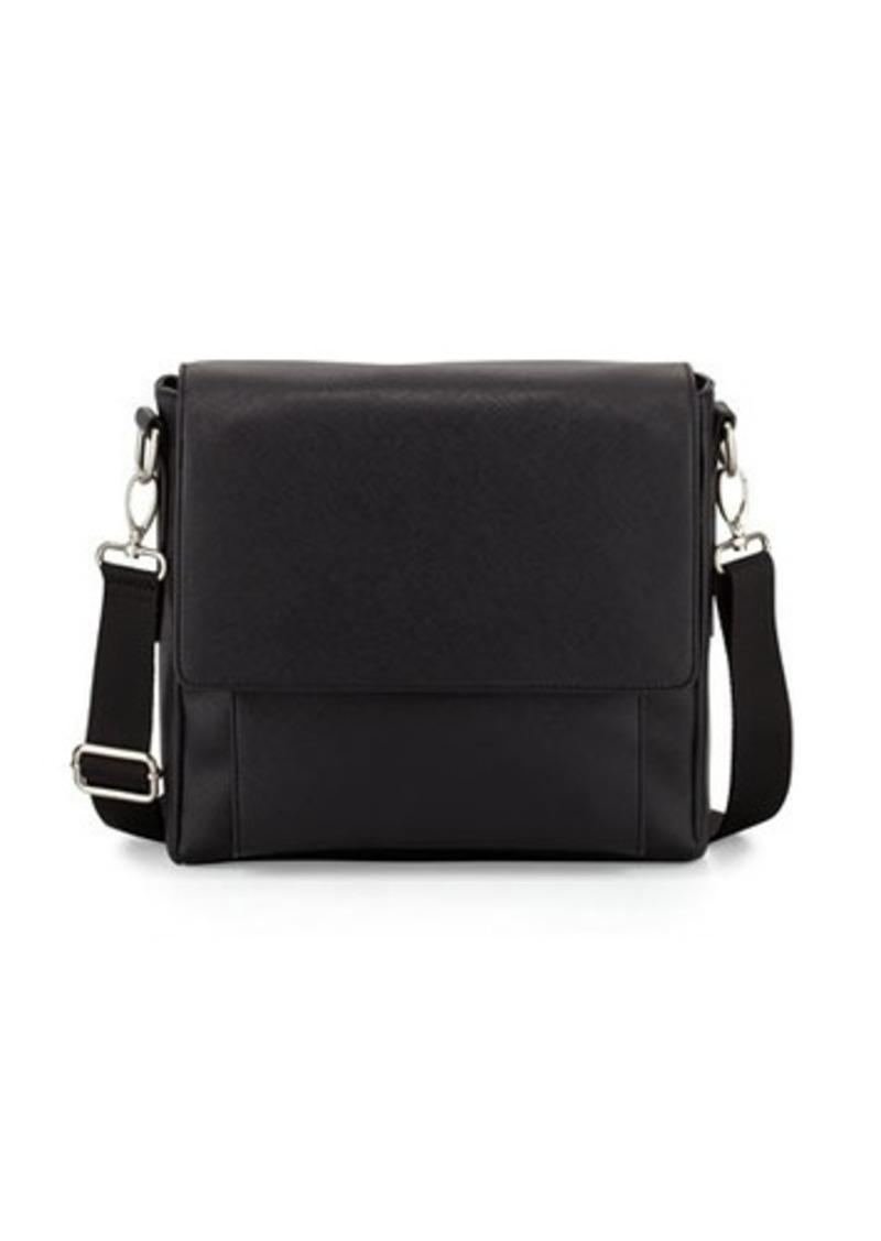Neiman Marcus Faux-Leather Messenger Bag