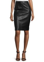 Neiman Marcus Faux-Leather Ponte Knit Skirt