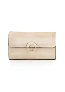 Neiman Marcus Faux-Leather Ring Clutch Bag