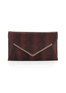 Neiman Marcus Faux-Leather Snake-Embossed Envelope Clutch Bag