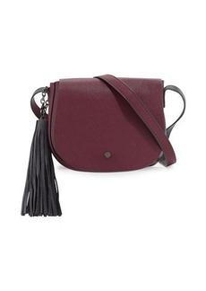 Neiman Marcus Faux-Leather Tassel Saddle Bag