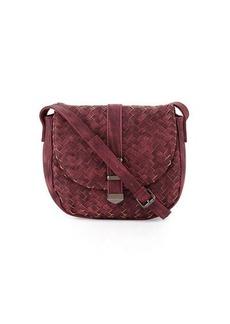 Neiman Marcus Faux-Leather Woven Saddle Bag