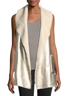 Neiman Marcus Faux Shearling Metallic Vest
