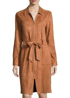Neiman Marcus Faux-Suede Belted Shirtdress