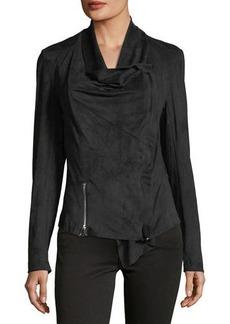 Neiman Marcus Faux-Suede Double-Zip Jacket