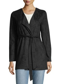 Neiman Marcus Faux-Suede Draped Jacket