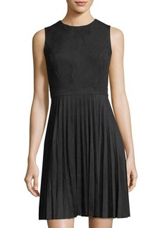 Neiman Marcus Faux-Suede Fit-and-Flare Dress