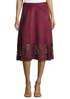 Neiman Marcus Faux-Suede Flared Midi Laser-Cut Skirt
