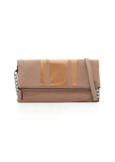 Neiman Marcus Faux-Suede Fold-Over Clutch Bag