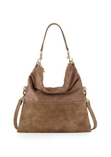 Neiman Marcus Faux-Suede Fold-Over Hobo Bag
