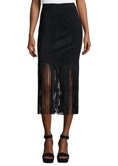 Neiman Marcus Faux-Suede Fringed Skirt