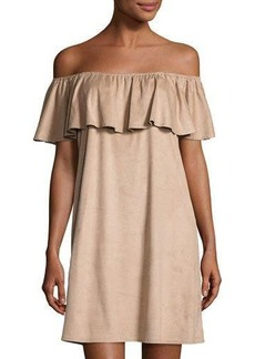 Neiman Marcus Faux-Suede Off-the-Shoulder Dress
