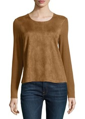 Neiman Marcus Faux-Suede Panel Top