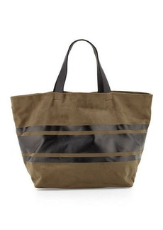 Neiman Marcus Faux-Suede Striped Panel Tote Bag