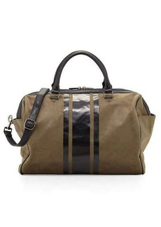 Neiman Marcus Faux-Suede Striped Panel Weekender Bag