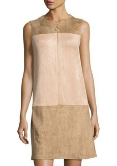 Neiman Marcus Faux-Suede Zip-Front Dress
