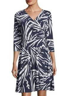 Neiman Marcus Faux-Wrap Leaf-Print Dress