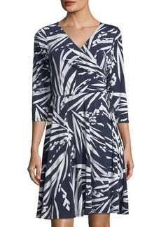 Neiman Marcus Faux-Wrap Leaf-Print Dress
