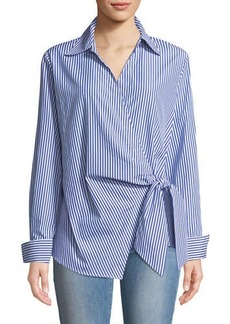 Neiman Marcus Faux-Wrap Long-Sleeve Striped Blouse