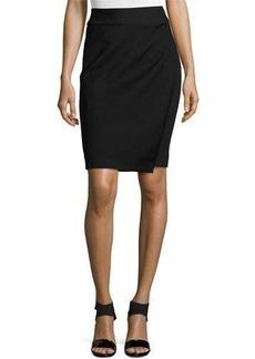 Neiman Marcus Faux-Wrap Ponte Skirt