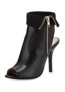 Neiman Marcus Fiona Suede-Trim Leather Bootie