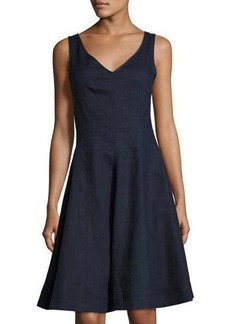 Neiman Marcus Fit & Flare V-Neck Linen Dress