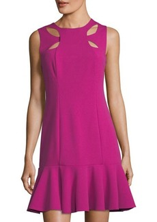 Neiman Marcus Fit-and-Flare Cutout Cady Dress