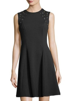 Neiman Marcus Fit-and-Flare Sleeveless Grommet-Shoulder Dress