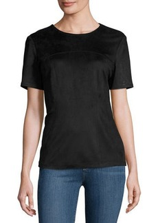 Neiman Marcus Fitted Faux-Suede Tee