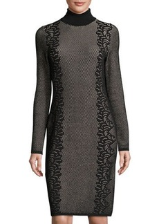 Neiman Marcus Fitted Turtleneck Jacquard Dress