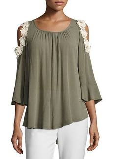 Neiman Marcus Flare-Sleeve Cold-Shoulder Blouse