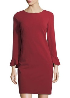 Neiman Marcus Flare-Sleeve Shift Dress