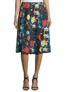 Neiman Marcus Floral A-Line Midi Skirt