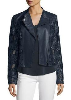 Neiman Marcus Floral-Crochet Leather Moto Jacket