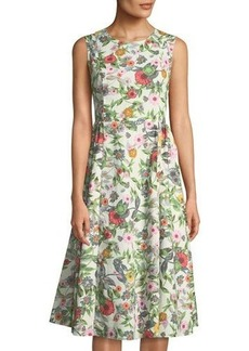 Neiman Marcus Floral Cross-Back Midi Dress