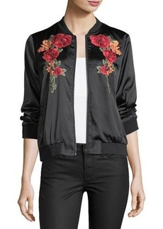 Neiman Marcus Floral-Embroidered Bomber Jacket